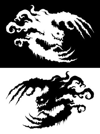 ghostly: Ghostly bogeyman Halloween design element, black and white