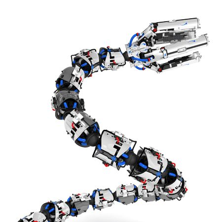 Robotic Tentacle Arm 3d, over white, isolated