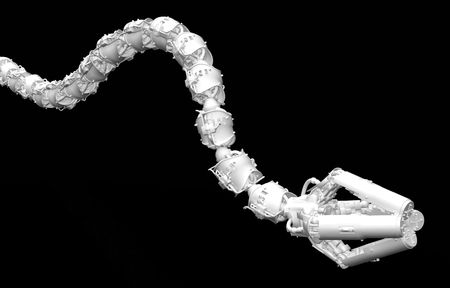 Robotic Tentacle Arm 3d, over black, isolated photo