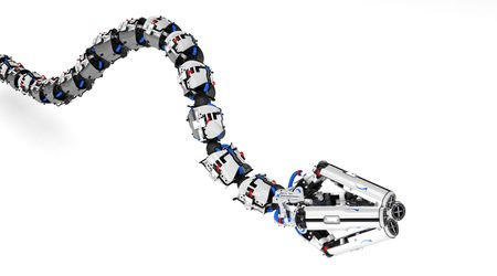 Robotic Tentacle Arm 3d, over white, isolated photo