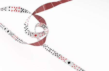 intersecting: Playing Card 3d abstract ribbons, isolated