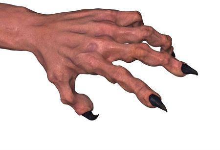 Clawed 3d monster hand model, over white