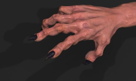 clawed: Clawed 3d monster hand model, dark background Stock Photo