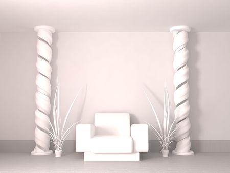 Modern apartment interior 3d, armchair and spiral pillars, white photo
