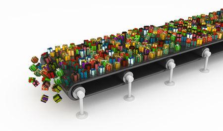 conveyor belt: Numerous wrapped gift box 3d, isolated, horizontal Stock Photo