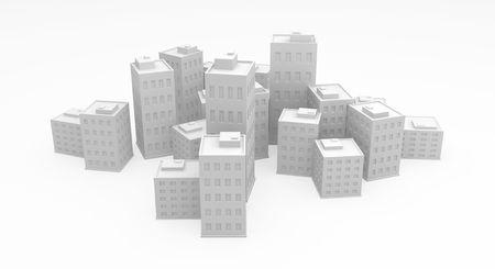 urbanization: Cartoon 3d building city model, over white