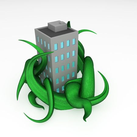 overgrown: Cartoon 3d overgrown building model, over white Stock Photo