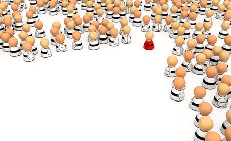 vulnerability: Crowd of small symbolic 3d figures, isolated Stock Photo