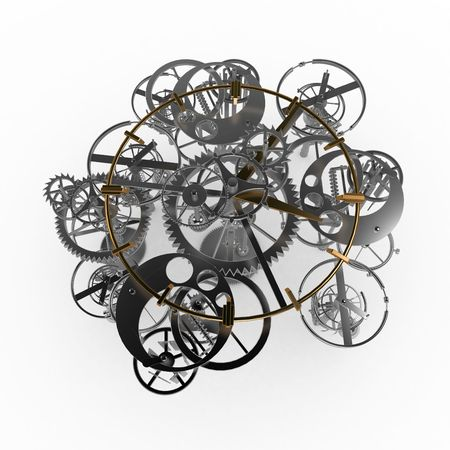 complex system: Clockwork gear mechanism 3d illustration, isolated