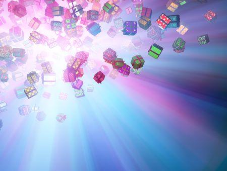 Illuminated flying wrapped gift boxes 3d, horizontal background Stock Photo - 5687060