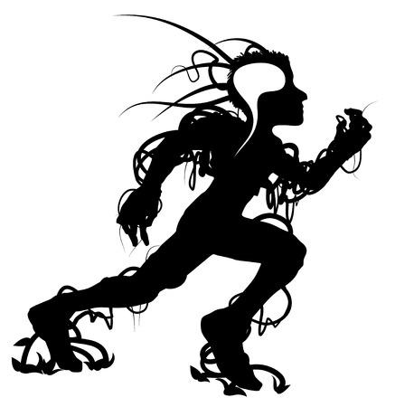 Runner black vector silhouette abstract design element Vector