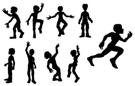 Set of 9 cartoon active people silhouettes, vector Vector