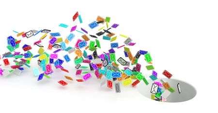 sent: Many small 3d email message symbols, isolated Stock Photo