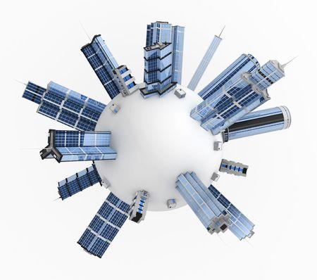 White 3d sphere covered in modern buildings
