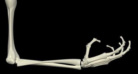 creepy hand: 3d skeletal arm, isolated, dark background