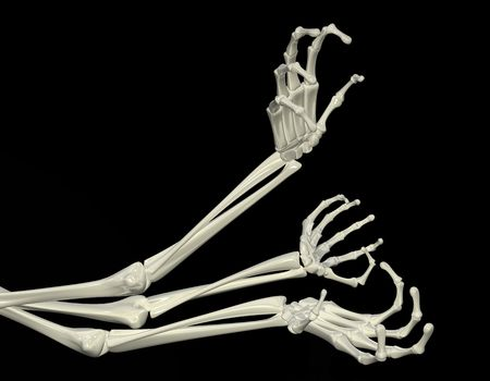 creepy hand: 3d skeletal arm, isolated, dark background
