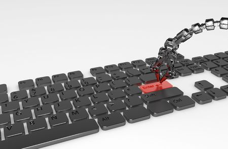 Thin 3d robotic tentacle arm pressing enter button on the keyboard, isolated photo