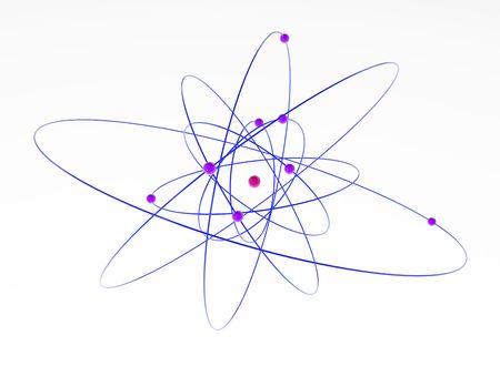 white atom: Isolated 3d atom model, over white, horizontal Stock Photo