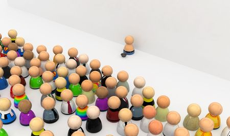 social outcast: Crowd of small symbolic 3d figures, isolated Stock Photo