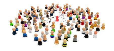 seize: Crowd of small symbolic 3d figures, isolated Stock Photo