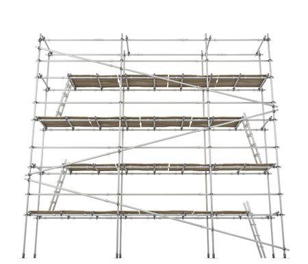 andamios: Andamios 3d de generaci�n de construcci�n, horizontal, sobre blanco, aislado  Foto de archivo