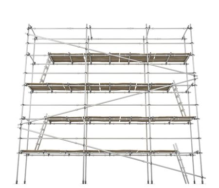 scaffold: Scaffolding construction 3d build, horizontal, over white, isolated