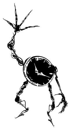 Animate clock figure model silhouette design element Vector