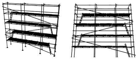 Scaffolding construction silhouettes, horizontal, black and white