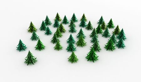 copse: Stylized cartoon 3d fir trees, white background