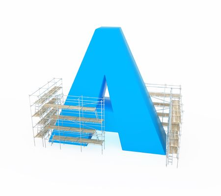 Scaffolding construction 3d build, horizontal, over white, isolated photo