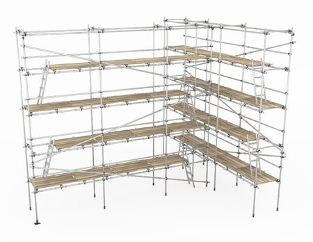 Scaffolding construction 3d build, horizontal, over white, isolated