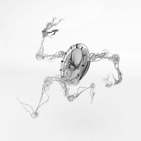 Animate clock figure model, 3d, over white, isolated 写真素材
