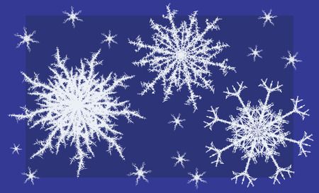 Set of complex snowflake shapes, dark blue background Vector