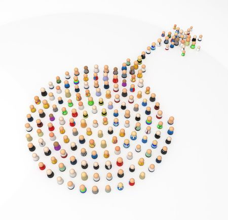 Crowd of small symbolic 3d figures, isolated photo