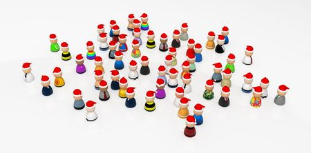 quantity: Crowd of small symbolic 3d figures, isolated Stock Photo
