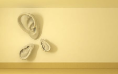 Front view of room wall with sculptrure ears affixed to it, 3d background photo