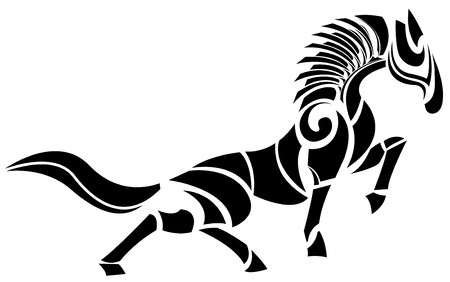Stylized vector horse logo design, black and white  イラスト・ベクター素材