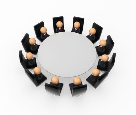 company board: Crowd of small symbolic 3d figures, isolated Stock Photo