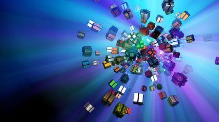 Illuminated flying wrapped gift boxes 3d, horizontal background photo