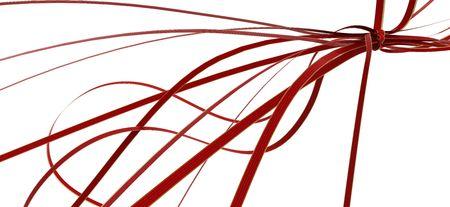 Red 3d decorative ribbon knot, horizontal, over white photo