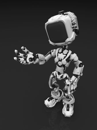 Small 3d robotic figure, standing on reflective surface photo
