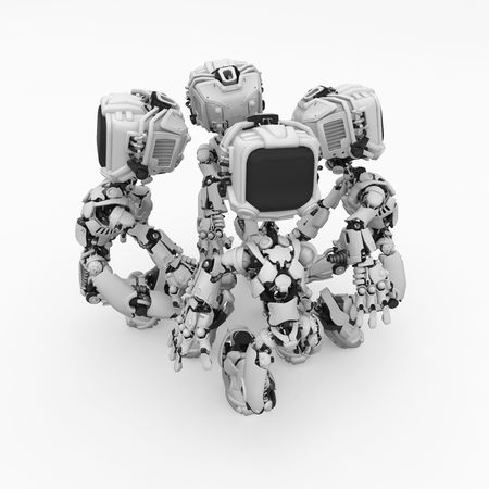 Small 3d robotic figures, over white, isolated Stock Photo - 5990341