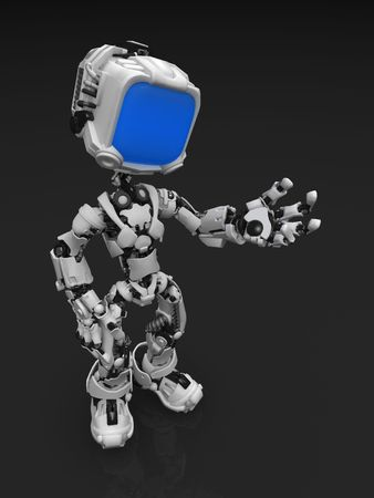 3d cg: Small 3d robotic figure, standing on reflective surface Stock Photo
