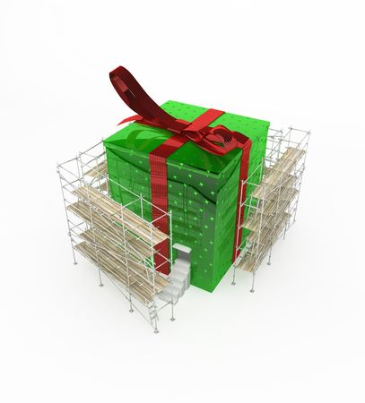 Gift 3d, big wrapped box with a doorway, isolated, over white photo