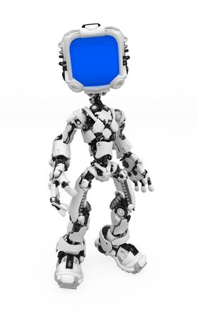 Small 3d robotic figure, over white, isolated Stock Photo - 6033641