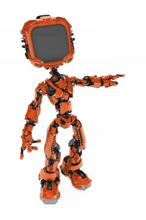 Small 3d robotic figure, over white, isolated Stock Photo - 6033690