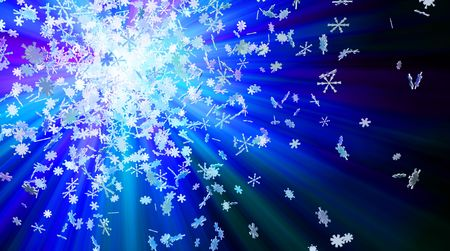 Winter theme 3d colored light snowflake background photo