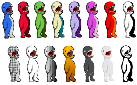 critter: Multicolored vector cartoon critter set, mouths open, isolated