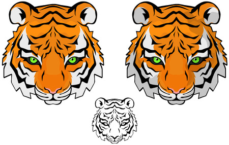 Small tiger head vector drawing, colored and black and white versions Vector