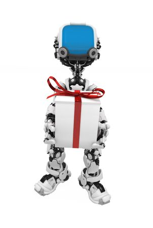 Small 3d robotic figure, over white, isolated Stock Photo - 6081006
